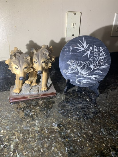 Resin Wolves and Stone Etched Plate