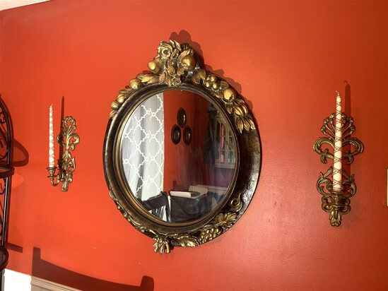 Two Bombay Wall Sconces & Bombay Mirror