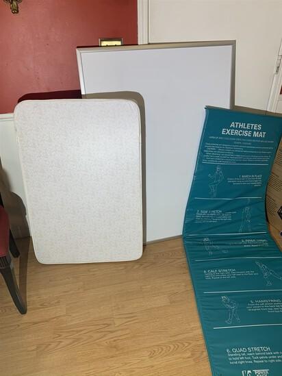 Dry Erase Board, Crib Mattress, & Exercise Mat
