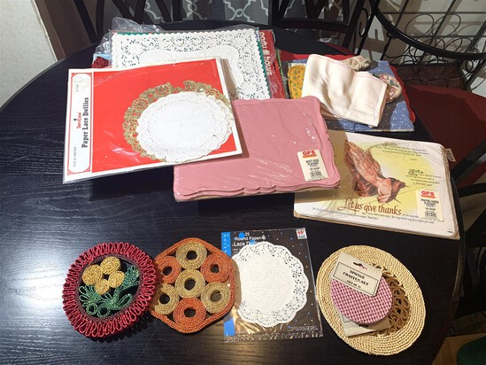 Assortment of Placemats & French Bull Serving Tray