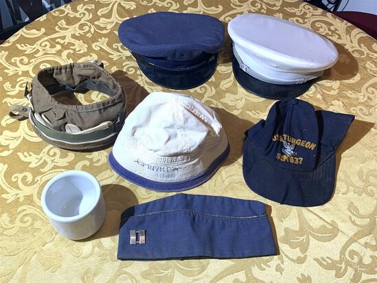 6 Military Hats with U.S.Q.M.C Shaving Mug