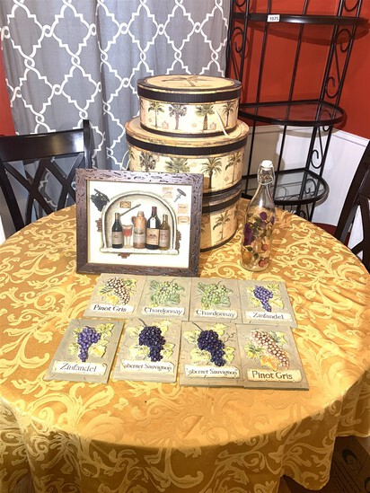 Decorative Hat Boxes with Wine themed Wall Art