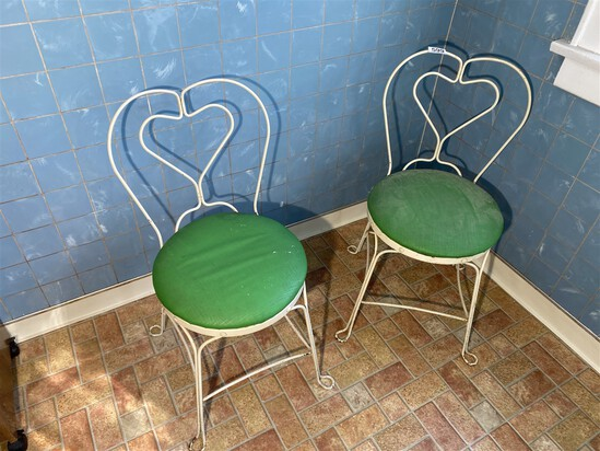 Pair of vintage ice cream chairs