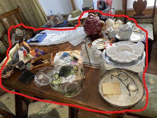 Assorted items on dining table lot