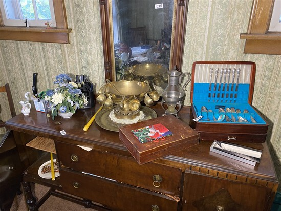 Items on and inside buffet table