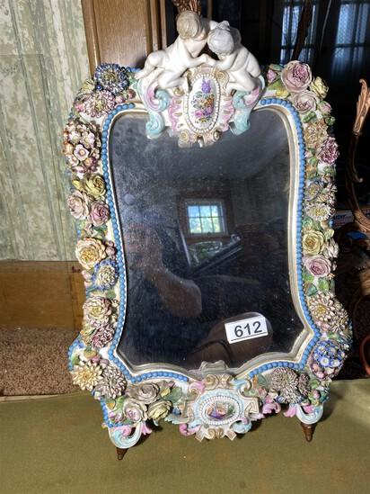 19th century elaborate porcelain mirror w/flowers, cherubs