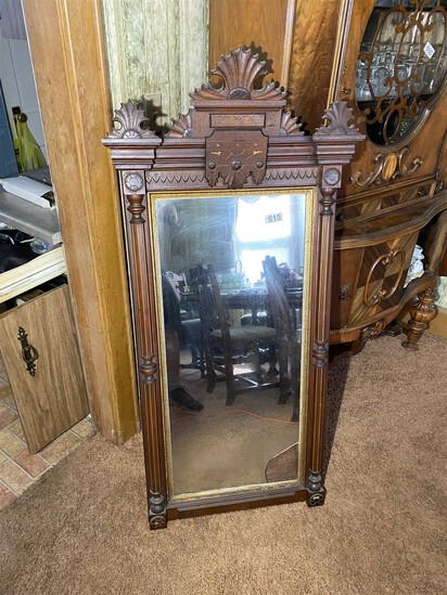 Large Antique 19th Century Carved Mirror