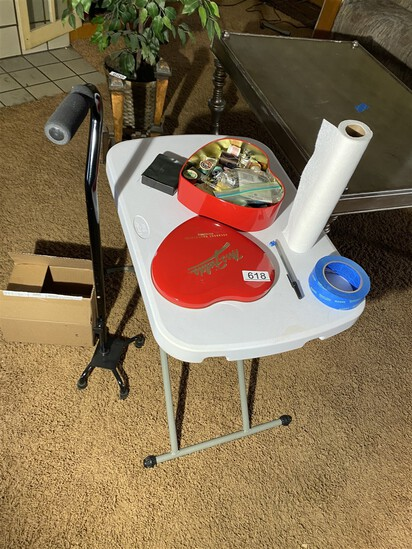 Small folding table, sewing items and cane