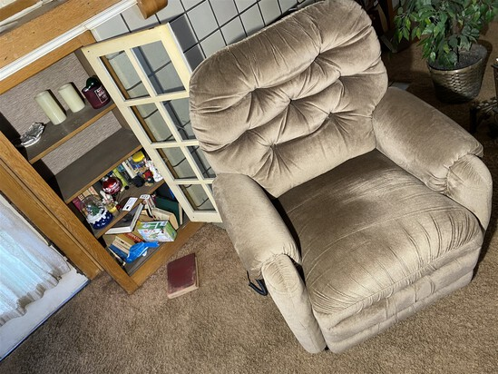Lift chair plus contents of shelves