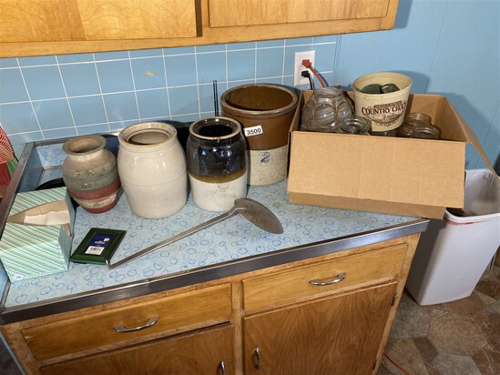 Group of stoneware and canning jars