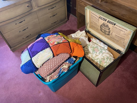 Huge lot of vintage afghans and wool blankets