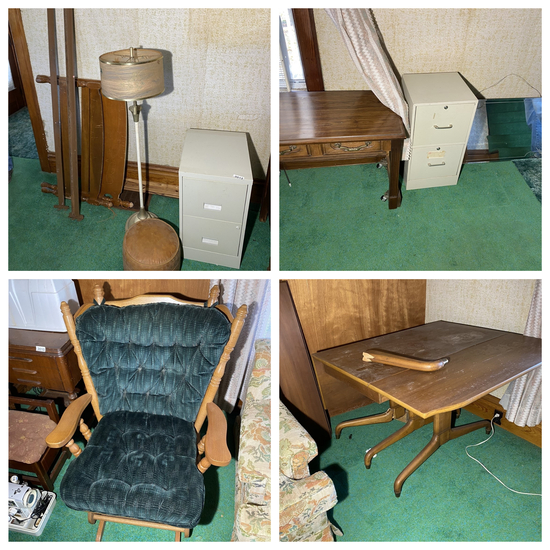 Group lot of vintage furniture and more