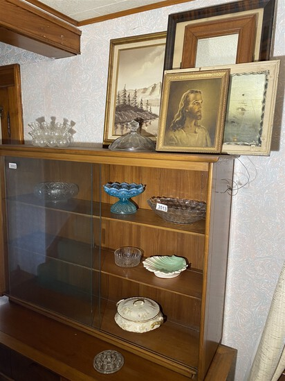 Group lot of vintage framed art, glass