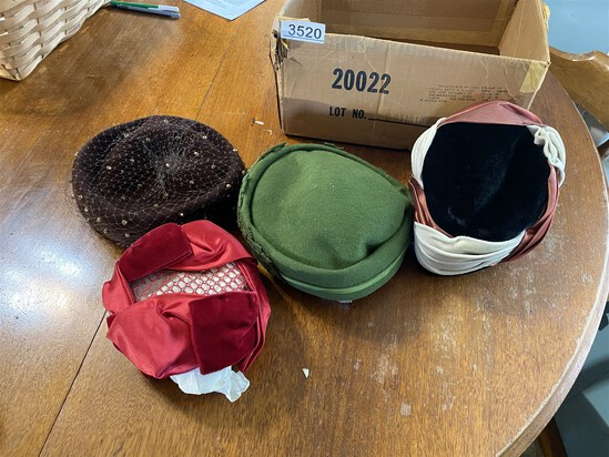 Group lot of 4 antique hats