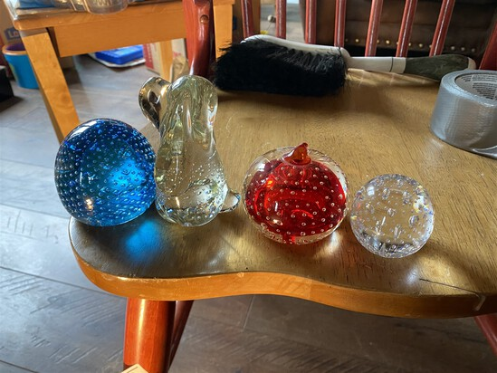 Group lot of Controlled Bubble Paperweights