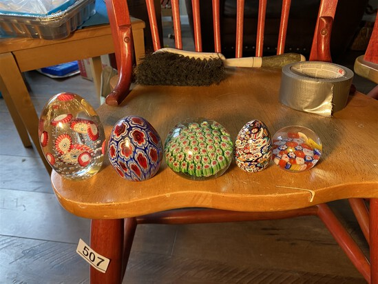 Group lot of Italian millefiori paperweights