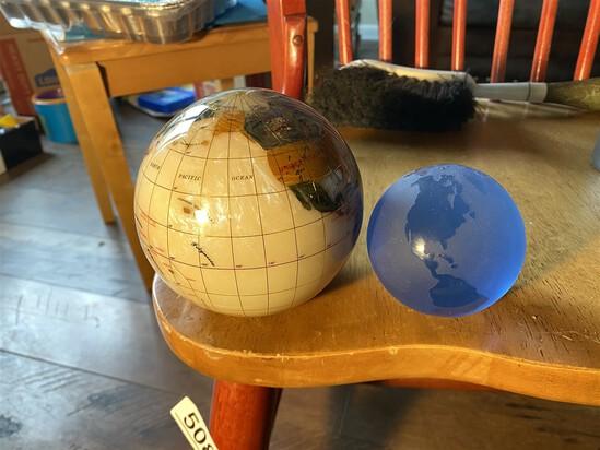2 Globe Glass Paperweights