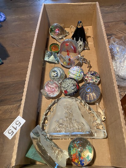 Box lot of assorted vintage paperweights and more