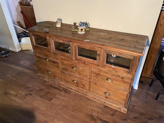 Vintage pine wooden cabinet