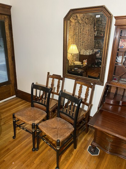 4 Antique Chairs plus Large Mirror