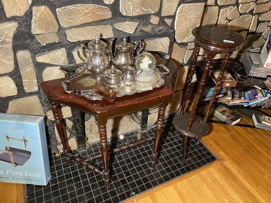 Antique wooden table plus stand