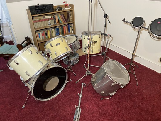 Vintage Pearl Drum Set and more