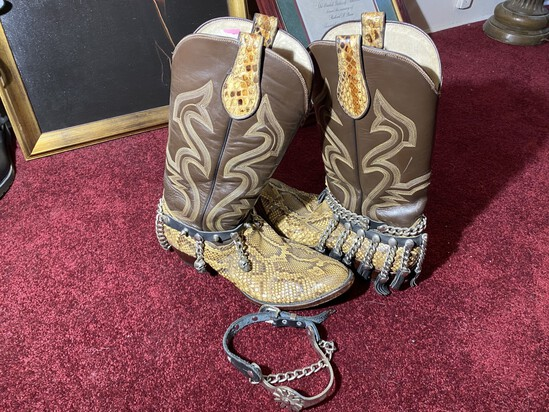 Pair of vintage 1980s Snakeskin cowboy boots