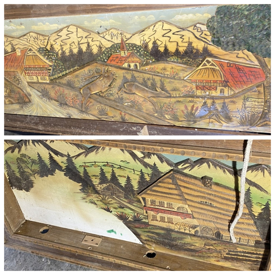 2 Vintage Carved, Painted Wood Diorama Scenes