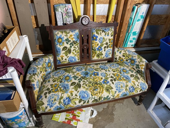 Antique Eastlake bench with 70s fabric upholstery