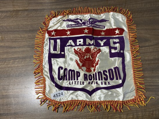 Vintage US Army Camp Souvenir Pillow Sham