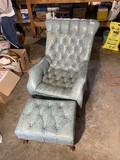 Neat vintage blue leather lounge chair