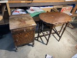 Small table and Oak stand with drawer