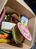 Box of assorted vintage toys