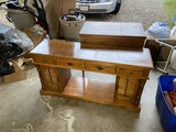 Vintage Lamp Table and Sewing Machine in Cabinet
