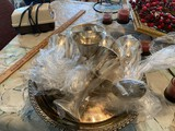 6 SIlverplate goblets and tray
