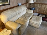 Nice leather couch and footstool