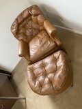 Vintage leather chair and footstool