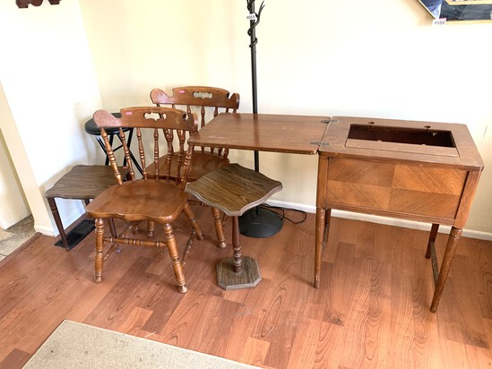 Lamp, 2 Chairs, Folding Stool, Sewing Machine case, & 2 Side Tables