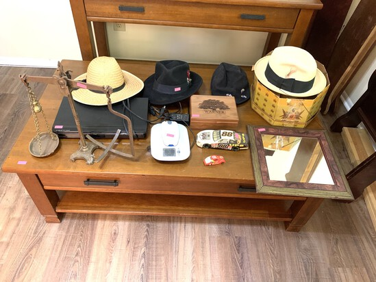 Assortment of Hats, Balance, DVD Player and More