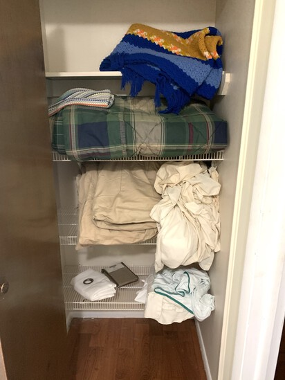 Clean out of Hall Closet - Blankets and Shower Curtain
