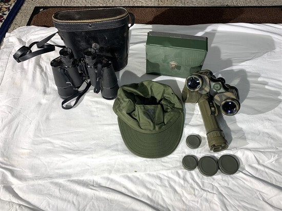 2 Pairs of Binoculars, Military Hat & Flashlight