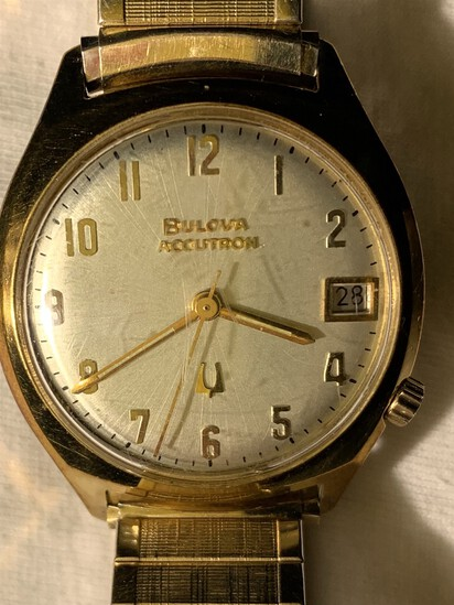Vintage Bulova Accutron Watch Gold tone with Tuning Fork Logo