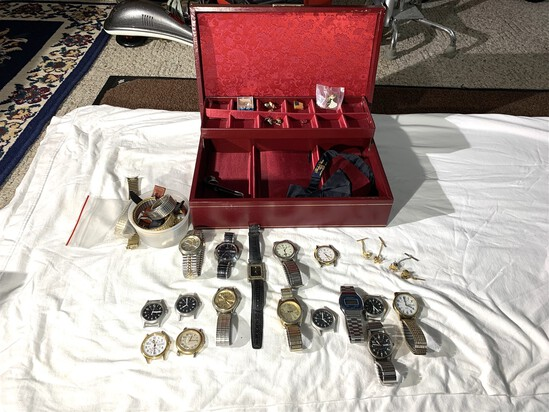 Assortment of Tie Tacks and Watches