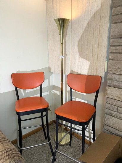 Lion Brand Retro Style Orange Bar Stools & Brass Lamp