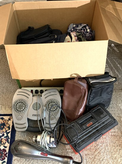 Assortment of Massagers, Tool Box, Clothing & Books