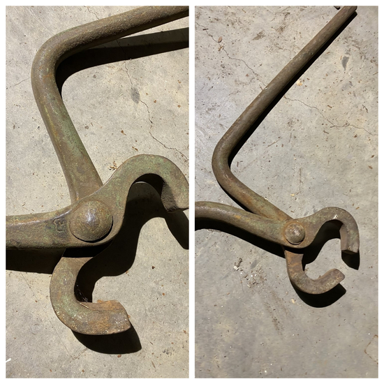 Pair of Antique Railroad Tie Lifter Log Carrier Tongs
