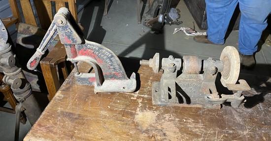 Antique industrial grinder and rivet press