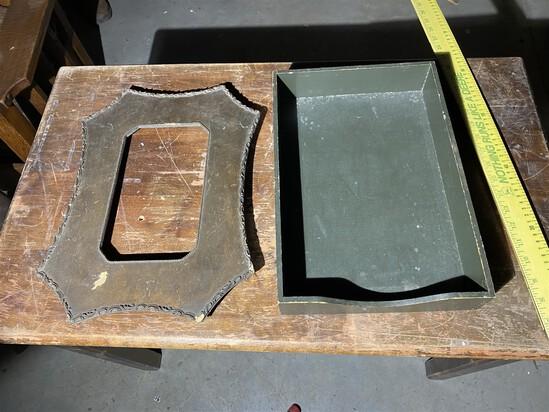 Vintage Olive Drab file holder and Victorian frame