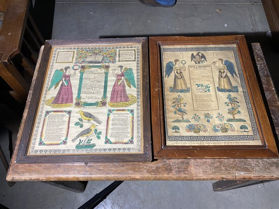 2 19th century printed frakturs hand tinted