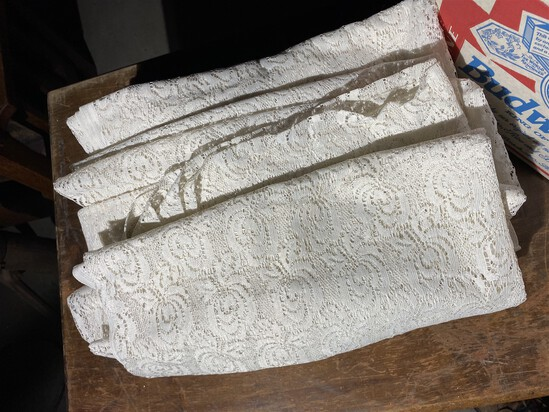 Large quantity of vintage lace fabric